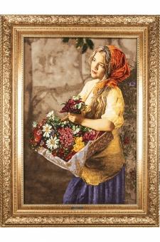 دختر گل فروش سبد به دست